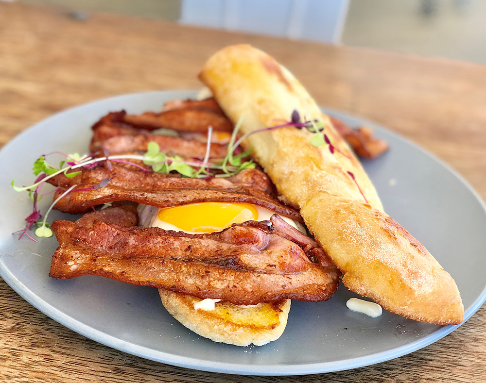Ciabatta stick bacon eggwebs