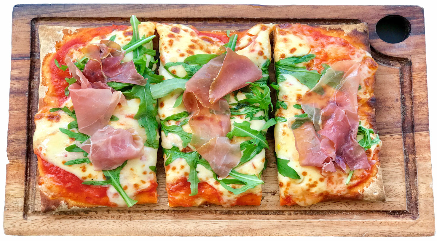 ham pizza rectanglesliced toop